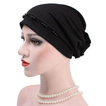 Farfi Winter Women Casual Beads Back Flower Slouchy Beanie Chemo Cap Hat