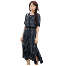 INMAN 1882104084 Dress Women Summer Round Collar Dress Striped Elegant Lady Dress