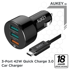 Aukey Car Charger 3 Ports 42W QC 3.0 & AiQ - 500126