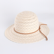 Zanzea 0051Women Summer Outdoor Petal Pattern Sunscreen Woven Straw Hat Adjustable Breathable Hat White