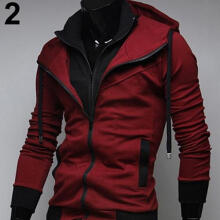 Farfi Men Slim Fit Double Zipper Two Tone Hooded Sweatshirt Coat Casual Jacket Outwear