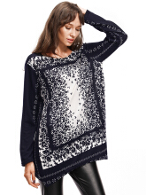 Zanzea 0051Plus Size Vintage Women Floral Printed Side Splite Long Sleeve Sweaters Black One Size