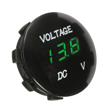 12V Motorcycle LED Digital Display Volt Meterr Waterproof Mini Round Panel Meter For Car Boat Yacht Green
