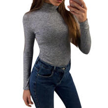 Farfi Women Long Sleeve Turtleneck Casual Slim Top Autumn Winter T-shirt Soft Blouse