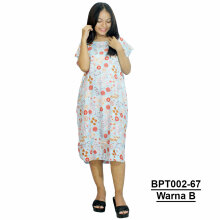 Batik Alhadi  (BPT002-67) - Dress Midi - Motif Bunga - All Size