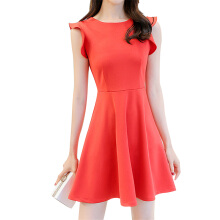 SiYing Korean version of the sleeveless A-line skirt solid color dress
