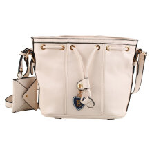 [LESHP]Retro Vintage Women Lady Drawstring Buckle Bucket Shoulder Messenger Bag Beige