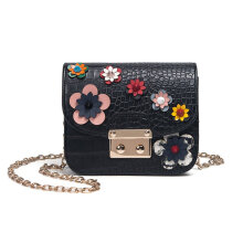 [LESHP]Fashion  Women PU Leather Chain Ladies Crossbody Shoulder Bag Flower Pattern Black