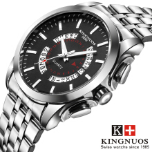 KINGNUOS Top Brand Luxury Military Sport Quartz-Watch Stainless Steel Men's Wristwatch Clock Relojes Hombre