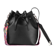 [LESHP]Fashion Colorful Strap Women Bucket Bag Vintage Shoulder Leather Handbag Black