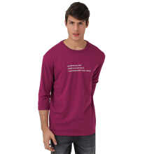 FACTORY OUTLET UG1802-0009 Mens T-Shirt With Print - Wine