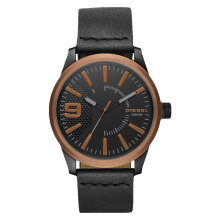 Diesel Rasp DZ1841 Men Black Dial Black Leather Strap [DZ1841]