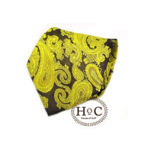 HOUSEOFCUFF Dasi Neck Tie Motif Wedding Best Man YELLOW BLACK BATIK TIE Yellow