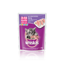 Mackerel Junior  Whiskas® Pouch  85 gr jual per box isi 24 pouch