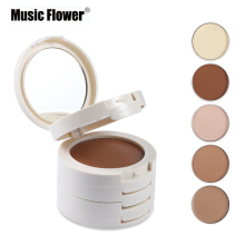 Music flower Brand 5 In 1 Colors Concealer Contouring Makeup Palette Foundation Facial Base Corretivo Bronzer Contour Compact