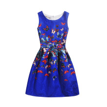 SESIBI Size 130~160 Girls Dresses Children Summer Dress Princess Costume Teens Fashion Printing Wear - Color Butterfly -