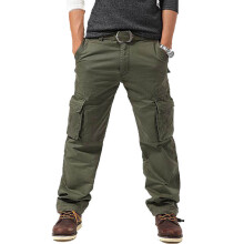 SBART Men Cotton Multi-Pocket Casual Cargo Pants Spring Autumn Outdoor Sports Loose Fit Hiking Mountain Climbing Trousers
