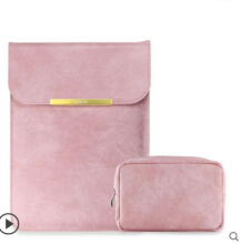 Ins I-60411 Litchi pattern design artificial leather Apple Macbook/Microsoft Surface Laptop 11inch protective bag&Power pack--Pink