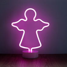 Jantens LED Neon Abajur Night Light Table Night Lamp Flamingo Angel Heart Battery Operated for Home