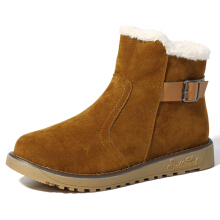 Zanzea 0051Fur Lining Suede Keep Warm Casual Cotton Snow Boots For Women Brown