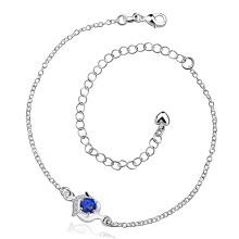 SESIBI 1pc Blue Crystal Anklet Foot Chain Hand Bracelet Wedding Women Fine Jewelry Gift One Size - Silver +Blue Crystal