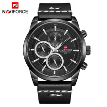 NAVIFORCE 9148 Mens Watches Top Brand Luxury Waterproof 24 hour Date Quartz Watch Man Fashion Leather Sport Wrist Watch Men Clo Black