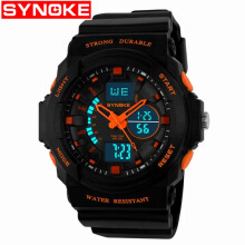Synoke 66866 Jam Tangan Pria Digital Sport Waterproof LED Watch dengan Leather Strap - Hitam/Orange