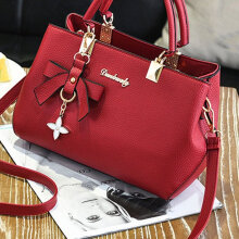 [LESHP]Women Leather Handbag Crossbody Shoulder Bag Messenger Satchel With Pendant Red