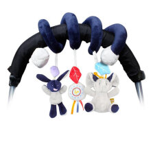 [kingstore] Safety seat pendant plush built-in rattle Dark Blue