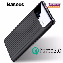 Baseus 10000mAh LCD Quick Charge 3.0 Dual USB Power Bank For iPhone X 8 7 6 Samsung S9 S8 Xiaomi Powerbank Battery Charger QC3.0 - Black