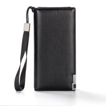 Fashionmall Men 's Lichee Pattern Metal Clip Embellishment Vertical Long Portable Clutch and Zipper hasp Wallet