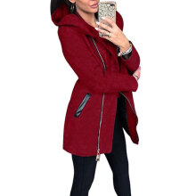 Female Long-sleeeved Hooded Coat Solid Color Jacket with Zipper Closure wine red S
