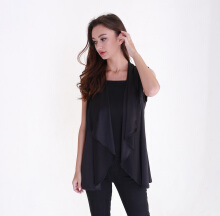 Rianty Basic vest atasan wanita cardigan alicie - black Black All Size