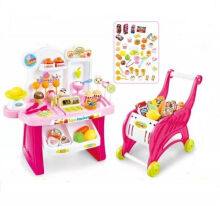 MINI MARKET PLAYSET 2IN1 TROLLEY PINK 668-41