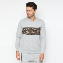 RAVE HABBIT- Ronnel Blocked Color Army Grey Sweatshirt Grey M