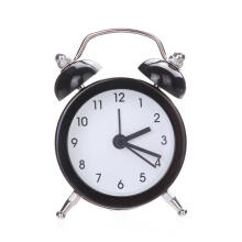 Farfi Mini Round Metal Alarm Clock Desk Stand Clock for Home Room Office