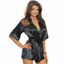 Newlan New sexy underwear big size satin black lace kimono pajamas intimate robe women pajamas Black Size-One