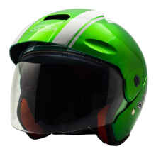 Cargloss YCB Line Two Helm Half Face - White Vivid Green