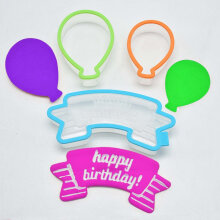 [COZIME] 3pcs Happy Birthday Balloon Cutter Mold Set Cookie Fondant Biscuits Sugar Craft Cake Mould Decorating Kitchen Baking Pastry Tool White