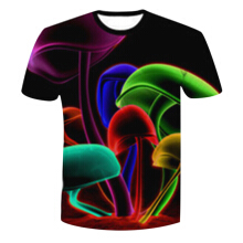 Fashionmall High Quality Bright Men Tops 3d Glare Mushroom  Clothes Both Side Print Tees T-Shirt
