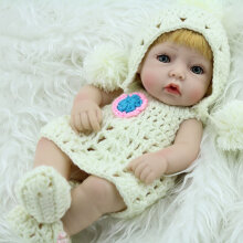 [COZIME] 28CM Unique Yellow Hair Reborn Baby Doll Soft Vinyl Lifelike Newborn Doll Girl White