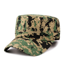 Hengdell Simple Men's Camouflage Flat Top Hat Outdoor Sun Visor Canvas Cap