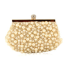 [LESHP]Luxury Women Evening Bags Simulation Pearl Beaded Wedding Bridal Handbag Light Yellow