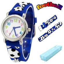 Keymao Soccer Waterproof 3D Cute Cartoon Silicone Wristwatches Gift for Little Girls Boy Kids Children Blue