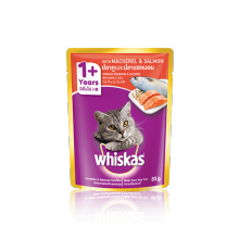 Mackerel & Salmon whiskas Adult 1+  jual per box, isi 24 pouch