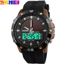 SKMEI Jam Tangan Pria Digital Analog 1064 Brown Water Resistant 50M