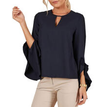 Farfi Round Neck Hollow Irregular Ruffle Sleeve Chiffon Shirt Women Casual Blouse