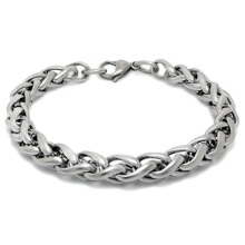 SESIBI 1PC Fashion Man Titanium steel Weave Twisted Bracelet Concise Style Hand Chain - Silver -One Size