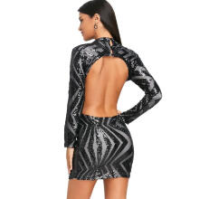 Kubon Backless Mock Neck Sequin Bodycon Dress Black M