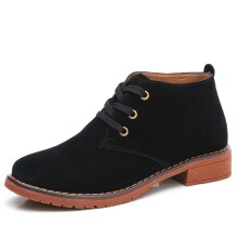 Zanzea 0051Suede Ankle Boots Lace Up Casual Flats Women Shoes Brown